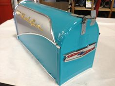 Radiant Blue Metal Belair Mailbox. $125.00, via Etsy.