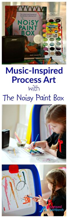 Music-Inspired Process Art with Kandinsky and The Noisy Paint Box.  The latest in our Exploring Art History with Preschoolers series | Art for Kids | Preschool | Kandinsky | Art History | Children's Books | Music