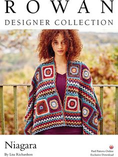 Crochet this colourful ladies shawl by Lisa Richardson. Available as a paid pattern download it uses 8 shades of Felted Tweed to create a beautiful shawl created of granny squares and striped panels. It would be suitable for the crocheter with some experience.