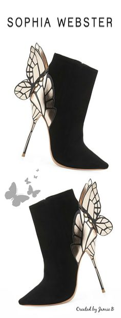 Pre Fall 2015 Sophia Webster. Chiara 3D Butterfly Wing Boot, Black. | Wow these are insane. Can I have them?