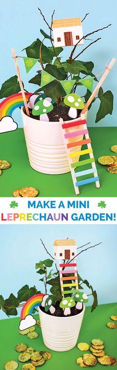 Make a Leprechaun Garden #stpatricksday #kidscraft #kidsart