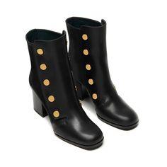 Marylebone Mid Heel Bootie | Black Smooth Calf | Women | Mulberry