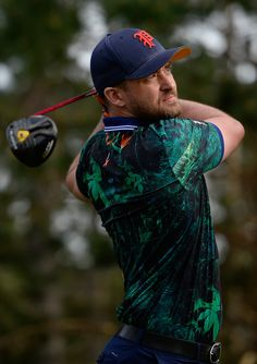 Justin Timberlake Photos Photos - Justin Timberlake plays his tee shot on the 18th hole during the first round of the AT&T Pebble Beach National Pro-Am at the Spyglass Hill Golf Course on February 11, 2016 in Pebble Beach, California. - AT&T Pebble Beach National Pro-Am - Round One