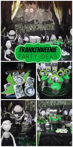 An awesome Frankenweenie themed party with desserts inspired by Tim Burton's movie colors and characters!  See more party planning ideas at CatchMyParty.com!