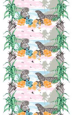 Hola Fabric – Vallila Online Store Tulum Beach, Exotic Beaches, Beach Scenes, Fabric, Pattern, Store, Design, Tejido, Tela