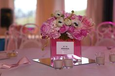 Centerpieces-love how they used a mirror