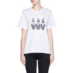 Markus Lupfer 'Gnome Trio' embroidered print Alex T-shirt (£110) ❤ liked on Polyvore featuring tops, t-shirts, white, print tees, white embroidered top, pattern tops, markus lupfer tee and embroidery tops