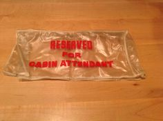 """Vintage Twa Airlines """"reserved For Cabin Attendant"""" Airplane Plastic Seat Cover"""