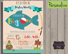 The Big One Invitation. The Big One, The Big One Invite, The Big One Birthday,  Fishing First Birthday, Boy First Birthday, First Birthday by PinkGlitterDesignsCo on Etsy https://www.etsy.com/listing/494144937/the-big-one-invitation-the-big-one-the
