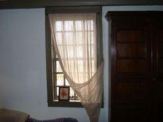 Primitive window treatment: Tobacco cloth #primitive #decor #historic #window