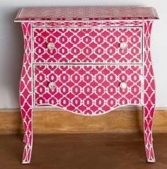 Mother Of Pearl Pink Side Table