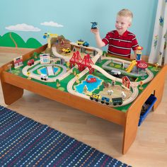 With the exciting Ride Around Town Train Table Set, the young conductors in your life have an entire busy community at their fingertips. The train set will provide kids with hours of imaginative play while the table helps keep playtime off the floor.