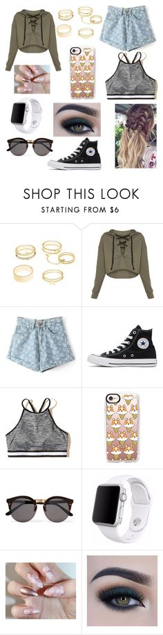"""""""Movie Day"""" by zi-and-astro ❤ liked on Polyvore featuring Salt Water Sandals, Charlotte Russe, Converse, Hollister Co., Casetify, Illesteva, Apple and Too Faced Cosmetics"""