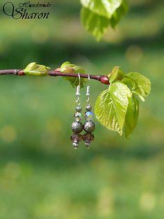 Sharon.handmade / Krátke korálkové fialová/kovová