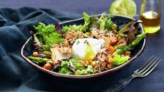 Grilled salad with oven baked rice and egg