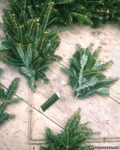 Wiring Greenery        Lay a small bundle of greenery on the form, and wrap the wire tightly around the stems three times. Do not cut the wire. Add another bundle, overlapping the previous one by half; wrap wire around stems. Continue adding bundles until you reach the starting point...