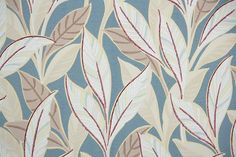 1930's Vintage Wallpaper -  Taupe White and Burgandy leaves on Blue