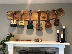 Unique Ukulele rack made from a Butternut slab, another awesome Customer Creation brought to life by our design staff. Home Music Rooms, Music Studio Room, Guitar Display, Music Corner, Recording Studio Home, Guitar Wall, Music Wall Art, Anglesey, Future