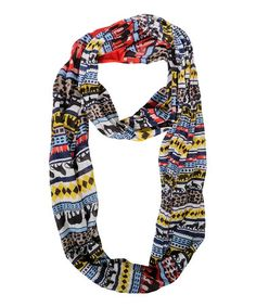 Another great find on #zulily! Red & Yellow Tribal Stripe Vermilion Infinity Scarf #zulilyfinds
