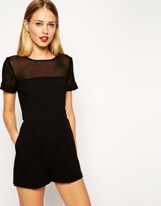 ASOS Playsuit With Sheer Panel with Short Sleeves