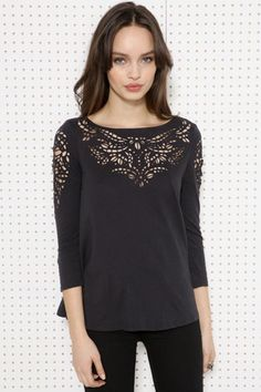 Truly Madly Deeply Cutwork Top at Urban Outfitters