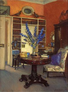 laclefdescoeurs: Orange And Blue, The Library At Ardilea, 1911, Patrick William Adam