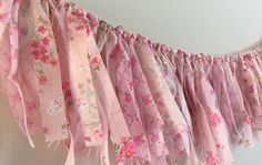 Pink and White Fabric Garland / Baby Nursery / by HoneyBumpkins