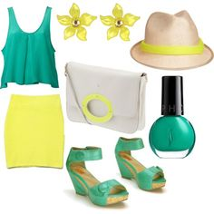 Yellow and Turquoise, created by stephanie-cardwell on Polyvore