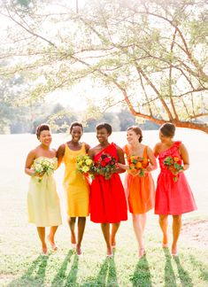 Summer Wedding Ideas Citrus-colored bridesmaids dresses are perfect for a summer wedding. Love the mismatched bridesmaids! - Citrus wedding inspiration board with yellow lemon and grapefruit pinks. Rainbow Bridesmaids, Mismatched Bridesmaid Dresses, Bridesmaid Flowers, Wedding Bridesmaid Dresses, Wedding Attire, Tangerine Bridesmaid Dresses, Orange Bridesmaids, Wedding Colors, Wedding Flowers