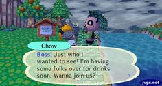 Chow asked me over for drinks. #animalcrossing
