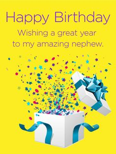 Send Free May Your Wishes Come True - Birthday Fireworks Card for Nephew to Loved Ones on Birthday & Greeting Cards by Davia. It's free, and you also can use your own customized birthday calendar and birthday reminders. Birthday Message For Nephew, Happy Birthday Nephew Funny, Birthday Greetings For Kids, Cute Happy Birthday Wishes, Nephew Birthday Quotes, Birthday Wishes For Myself, Happy Birthday Funny, Happy Birthday Images, Birthday Greeting Cards