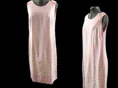60s DRESS PINK Embroidered SHIFT VINTAGE Linen Blend Bust 36 inches #Dresses