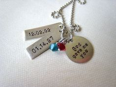 God gave me you personalized hand stamped silver necklace for wedding anniversary mothers bridal gift, child's name. $33.00, via Etsy.