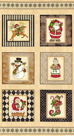 """Holly Jolly - North Pole Patch - Tan - 24"""" x 44"""" PANEL"""