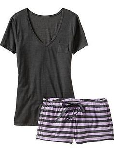 Women's Tee & Shorts Sleep Sets   Old Navy This looks real comfy :)