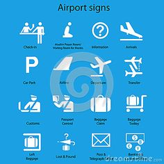 Set of airport signs and symbols  on blue