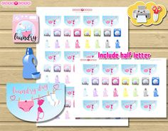 Wash Machine Laundry day Planner Stickers