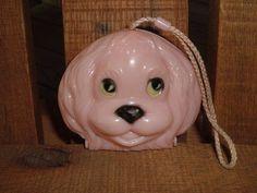 CHILD'S VINTAGE HARD PLASTIC PINK PUPPY DOG PURSE