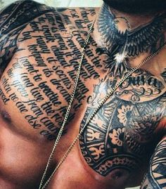 Top 40 best chest tattoos for men chest tattoo writing, chest tattoo text, Chest Tattoo Text, Chest Tattoo Writing, Cool Chest Tattoos, Chest Piece Tattoos, Pieces Tattoo, Cool Tattoos For Guys, Trendy Tattoos, Unique Tattoos, Men Tattoos
