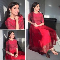 Beautiful red anarkali Director Divya khosla kumar in a outfit for Sanam Re promotions! Ethnic Dress, Indian Ethnic Wear, Nice Dresses, Casual Dresses, Fashion Dresses, Maxi Dresses, Indian Dresses, Indian Outfits, Indian Designer Suits