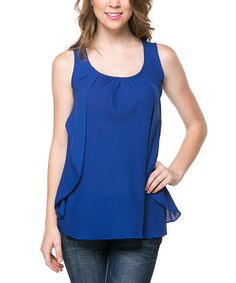 Look at this #zulilyfind! Royal Blue Cutout Sleeveless Top by Magic Fit #zulilyfinds