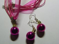 Dangle Christmas Light Earring & Necklace Set  277 by ritascraftsandmore on Etsy