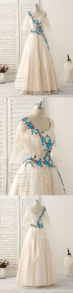 Unique lace applique tulle long prom dress light champagne bridesmaid dress