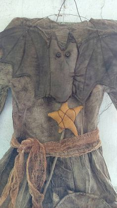 Primitive Grungy  Witch's Wear Dress on hanger Handmade Halloween Decoration spooky Witch hat black dress by UrbanHandmade1 on Etsy
