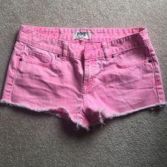 Victoria Secret Pink Shorts adorable pink frayed shorts, worn once! Victoria's Secret Shorts Jean Shorts