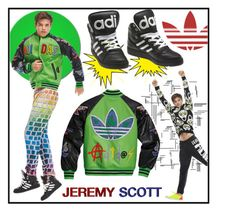 """""""Jeremy Scott for Adidas!"""" by whirlypath ❤ liked on Polyvore featuring adidas, men's fashion and menswear"""