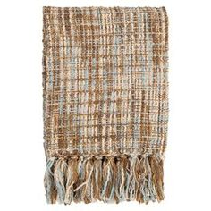 Throw blanket with fringe detail.   Product: ThrowConstruction Material: 100% AcrylicColor: Sky blue and sunset khakiDimensions: 50 x 60Cleaning and Care: Blot stains