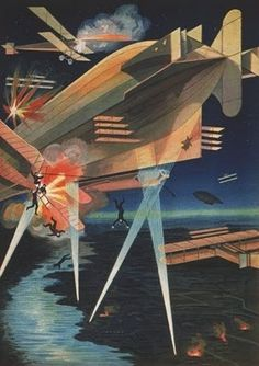 Zeppelin attacked by aircraft. Russian Lithograph, 1914.