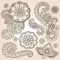 Love The Designs Here Really Do Like Top Left As Pos Central Part Of Tattoo Henna Paisley Mandala Flowers Mehndi Doodles Set Stock Photo