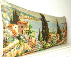 Huge French Needlepoint Rare Provence Cote d'Azur by Retrocollects £85 https://www.etsy.com/shop/Retrocollects